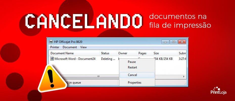 Cancelando documentos na fila de impressão