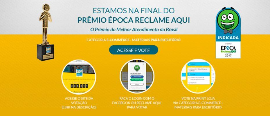 Imagem ensinando a votar no Prêmio Época Reclame Aqui 2017