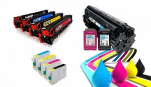 Cartuchos e toners com pingos de tinta colorida