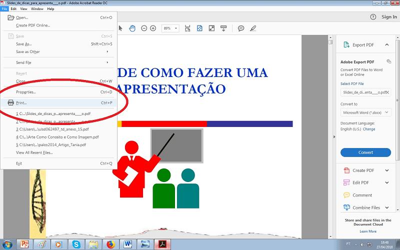 como imprimir vários slides na mesm folha em pdf - passo 3