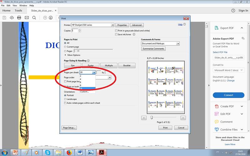 como imprimir vários slides na mesm folha em pdf - passo 5