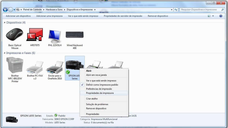 IP da impressora - Passo 2