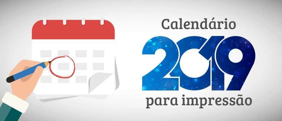 imprimir calendario 2019 capa