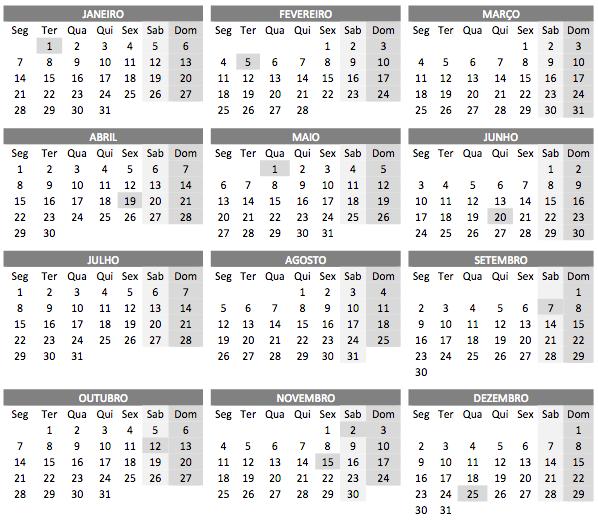 Calendário de 2019 com feridos em PDF