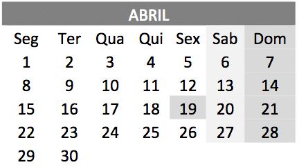baixar o Calendário de abril 2019 em PDF