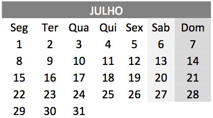 baixar o Calendário de Julho 2019 em PDF