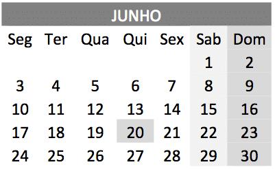 baixar o Calendário de junho 2019 em PDF