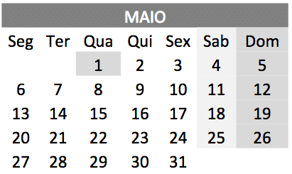 baixar o Calendário de maio 2019 em PDF