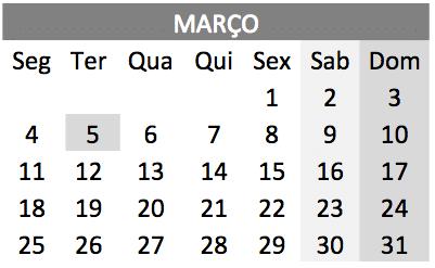 baixar o Calendário de Março 2019 em PDF