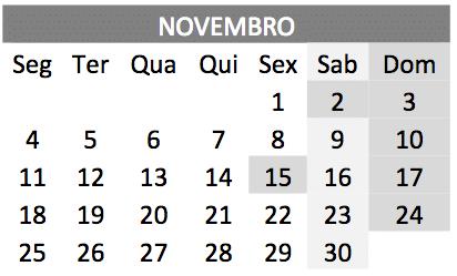 baixar o Calendário de novembro 2019 em PDF