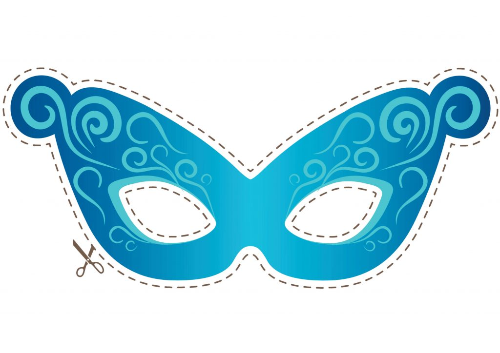 molde de mascara azul decorada para imprimir