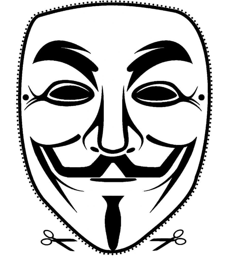 molde de Máscara Anonymous para imprimir.