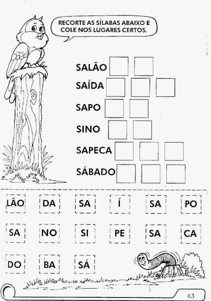 Três, recorte as sílabas e cole nos lugares corretos.