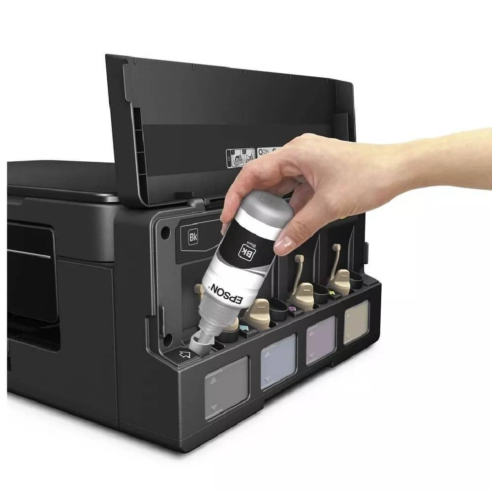 Sistema epson Ecofit para não desperdiçar tinta e nem sujar.