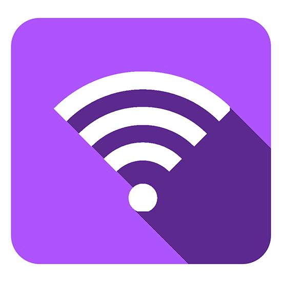 4. Formato quadrado com símbolo de disponibilidade de wi-fi roxo