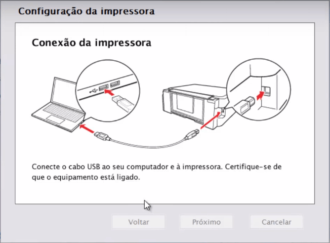 9. Conecte seu cabo de USB ao seu computador.