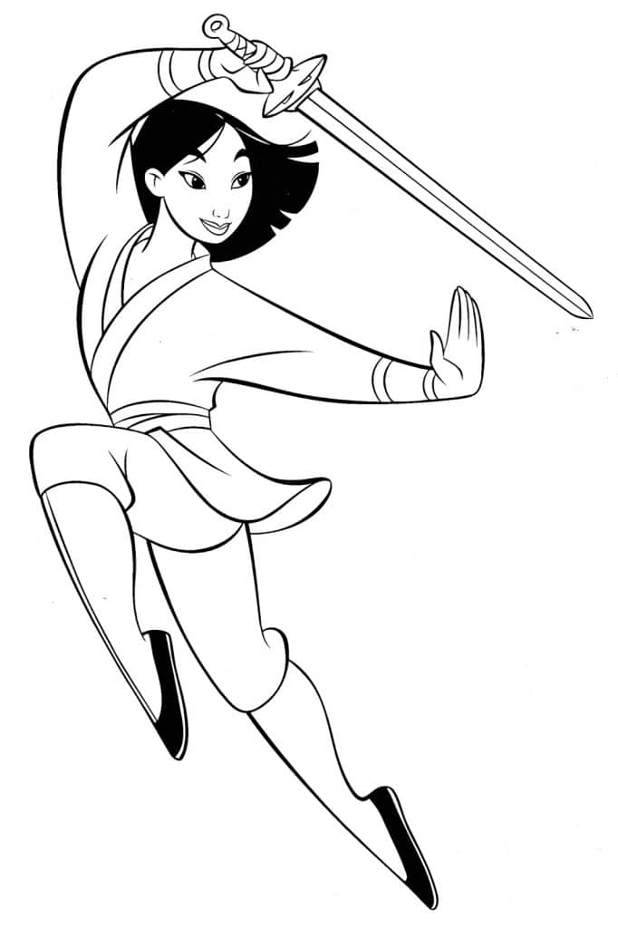 7. Desenho para colorir Hua Mulan.