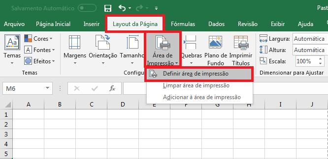 """5. Selecionar """"Layout de Página"""", logo abaixo clicar em """"Área de Impressão"""" e """"Definir área de impressão""""."""