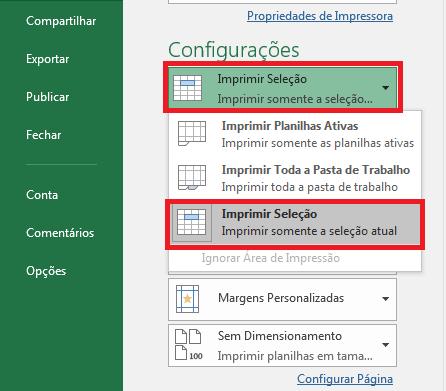 """7. Clique em """"Configurações"""", logo abaixo da opção das propriedades de impressora, e clique depois em """"Imprimir Seleção""""."""