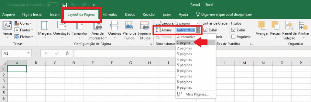 """2. Para configurar a altura, clique em """"Layout da Página"""", """"Altura"""" e selecione a opção """"1 página""""."""