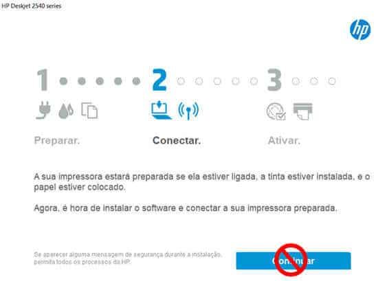 2. Clique no link indicado no texto e baixe o software HP e o driver de impressão, o processo de instação iniciará automaticamente.