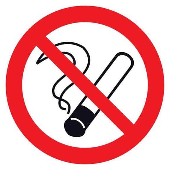 4. Placa, com simbolo indicativo que proibição fumar nesse local.
