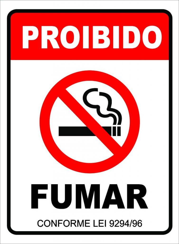 5. Ambiente livre de fumaça, placa de proibido fumar.