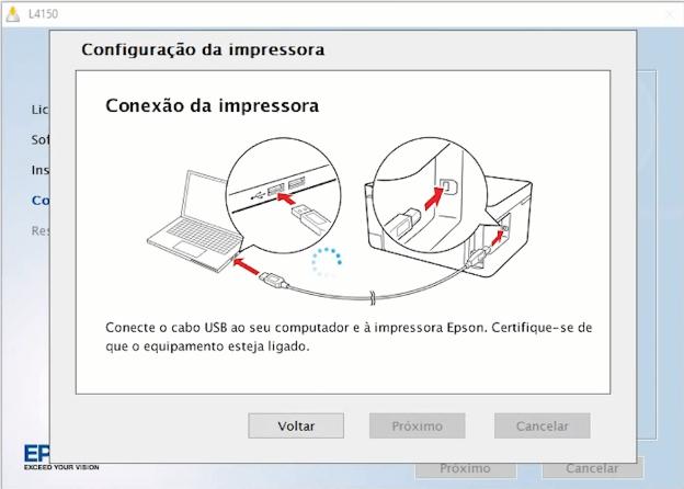 Passo 7: Configuração da impressora, conecte o cabo USB.