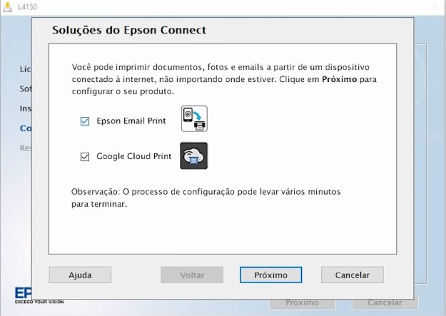 Passo 12: Instale os aplicativos Epson E-mail Print e Google Cloud Print..