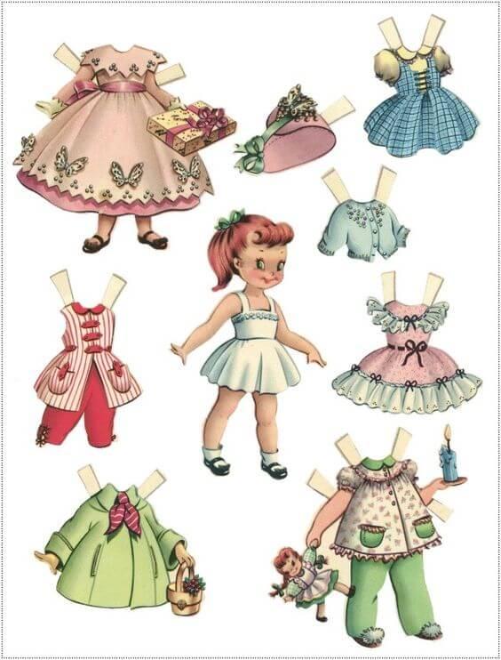 9) Boneca e acessórios para recortar e colar