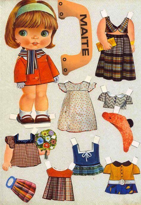 8) Boneca Maite para recortar e colar.