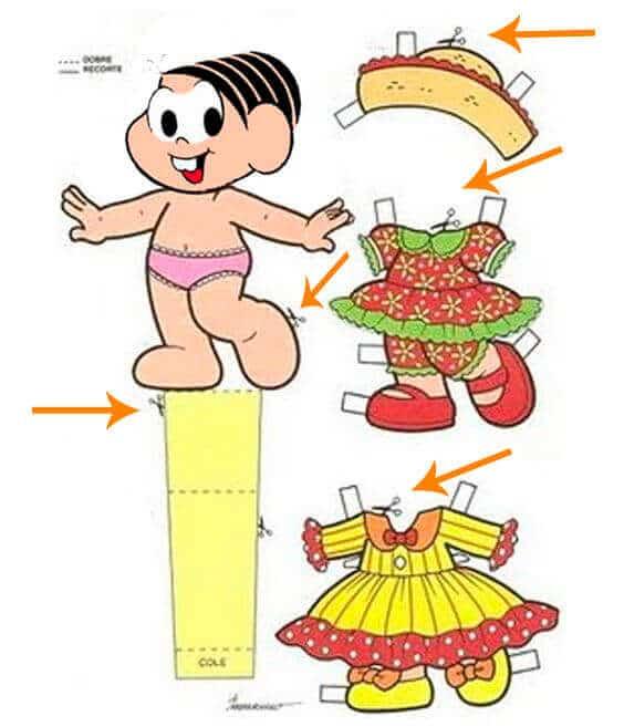 1) Boneca Mônica para recortar, recorte na area indicada na imagem.