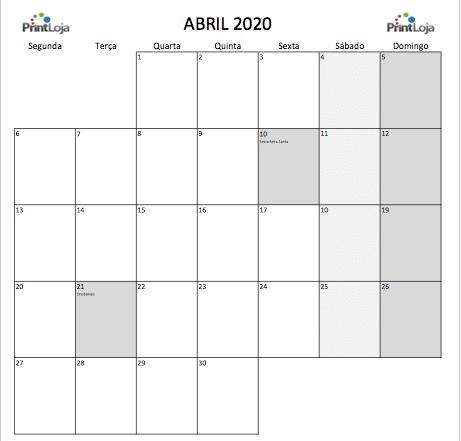 4) Calendario mês abril 2020