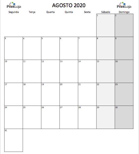8) Calendario mês Agosto 2020