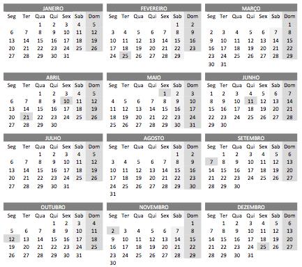 Calendario para ser impresso em A4 com todos os meses.