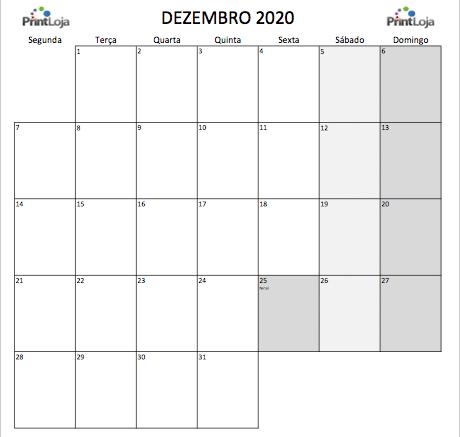 12) Calendario mês Dezembro 2020
