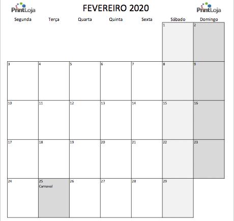 2) Calendario mês Fevereiro 2020