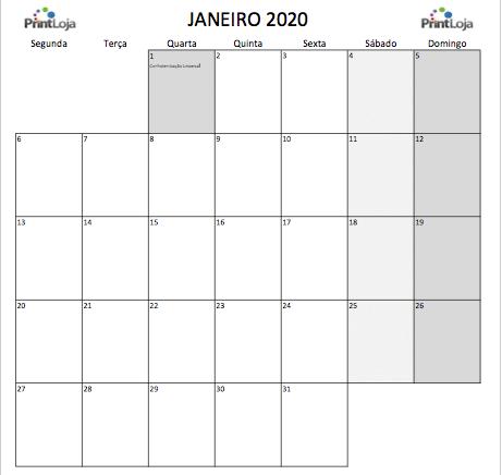 1) Calendario mês Janeiro 2020