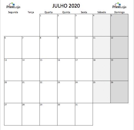 7) Calendario mês Julho 2020