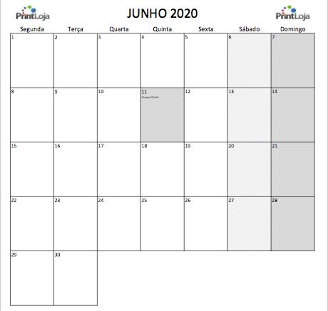 6) Calendario mês Junho 2020