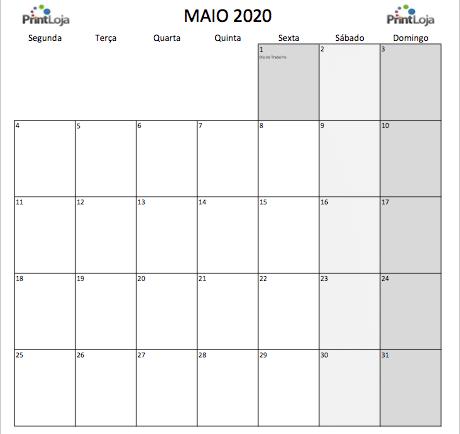 5) Calendario mês Maio 2020