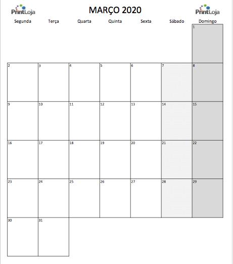 3) Calendario mês Março 2020