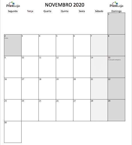 11) Calendario mês Novembro 2020