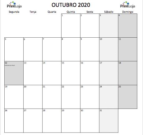 10) Calendario mês Outubro 2020