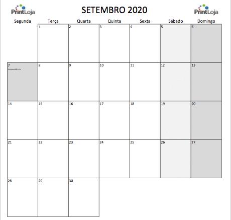 9) Calendario mês Setembro 2020