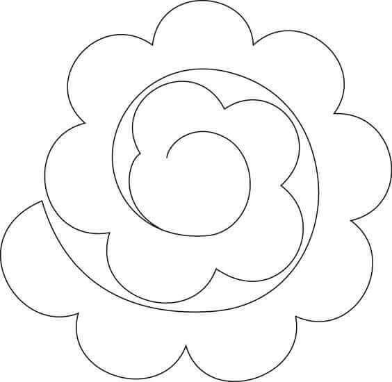 2) Molde espiral de flor para imprimir