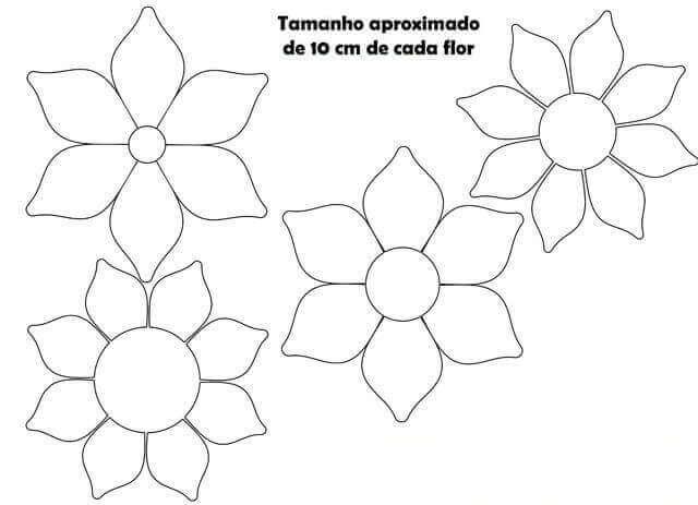 3) Vários tamanhos de flores para imprimir.