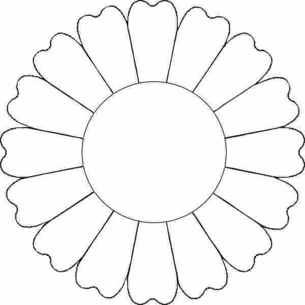 5) Molde de girassol de flor para imprimir