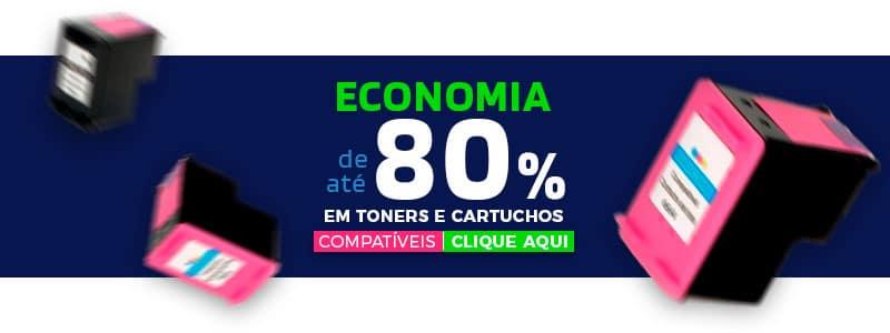 Economia de 80% em toners e cartuchos compativeis