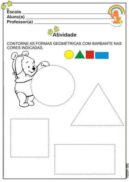 9) Nessa atividade você deve contornar as formas geométricas com as cores indicadas.